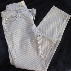 Roxy Denim Size 7/28 Faded Blue & White Stripe